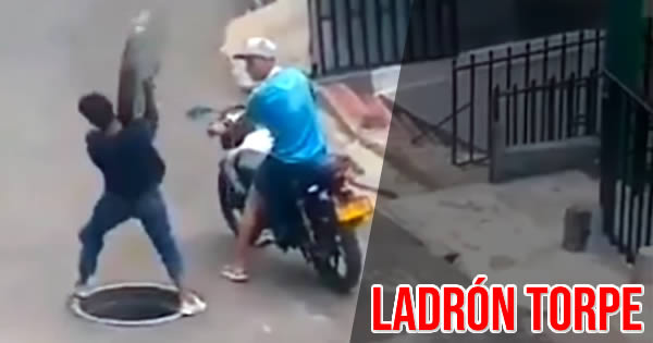 ladrón roba tapa alcantarilla