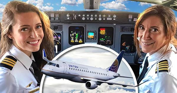 madre hija pilotos avión
