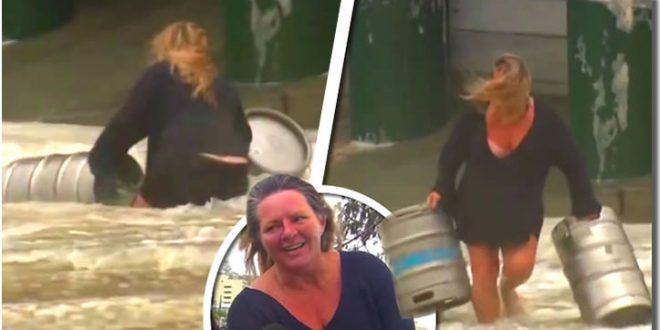 mujer barriles cerveza